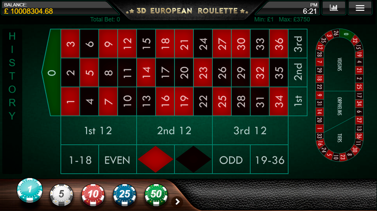 3d european roulette iron dog ruleta