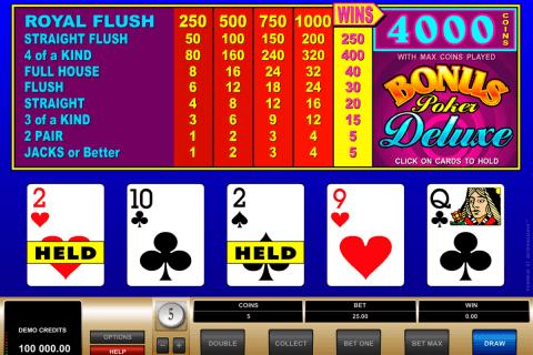 bonus poker delue microgaming poker aparate