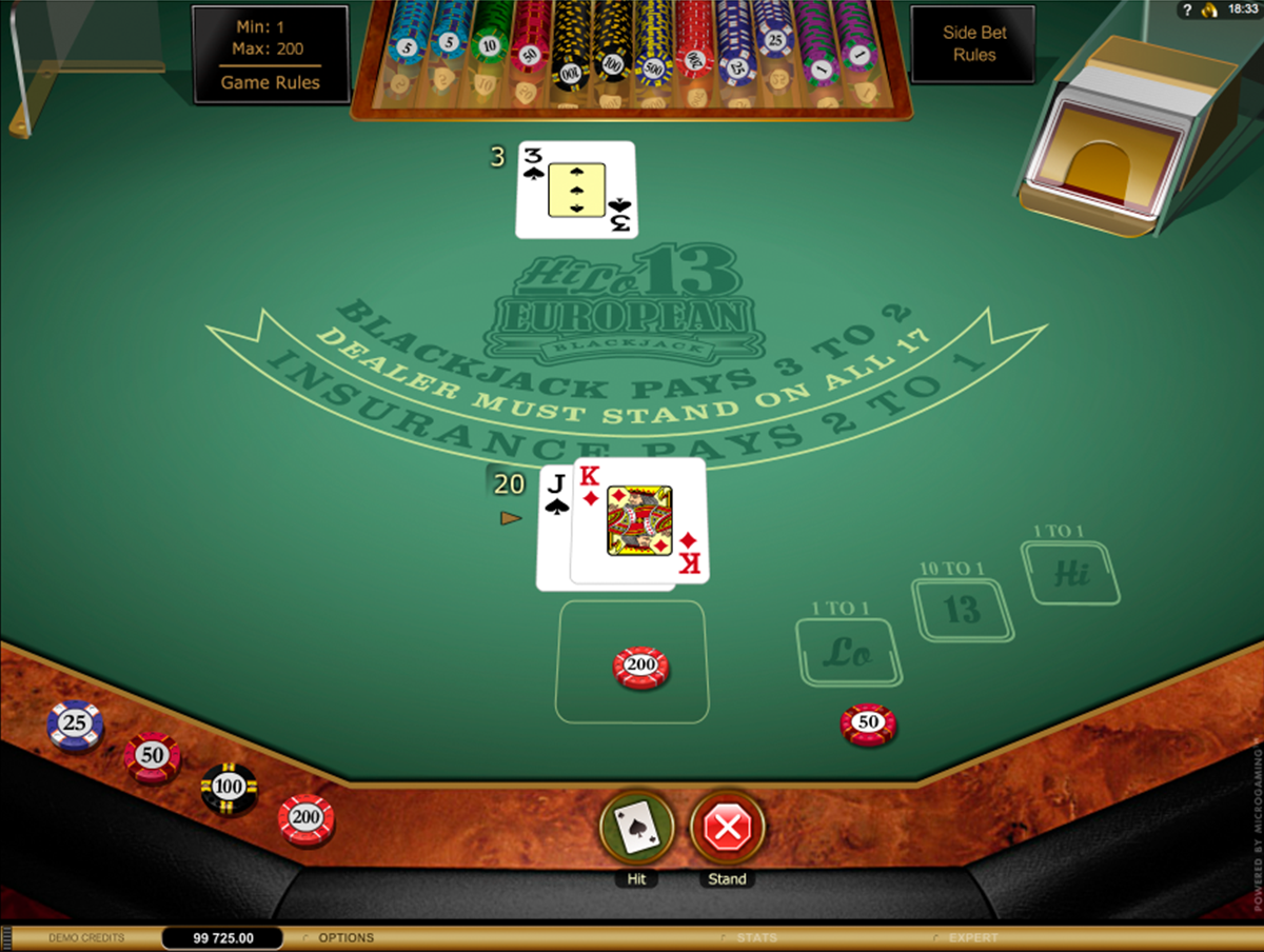 hi lo european blackjack gold series microgaming online