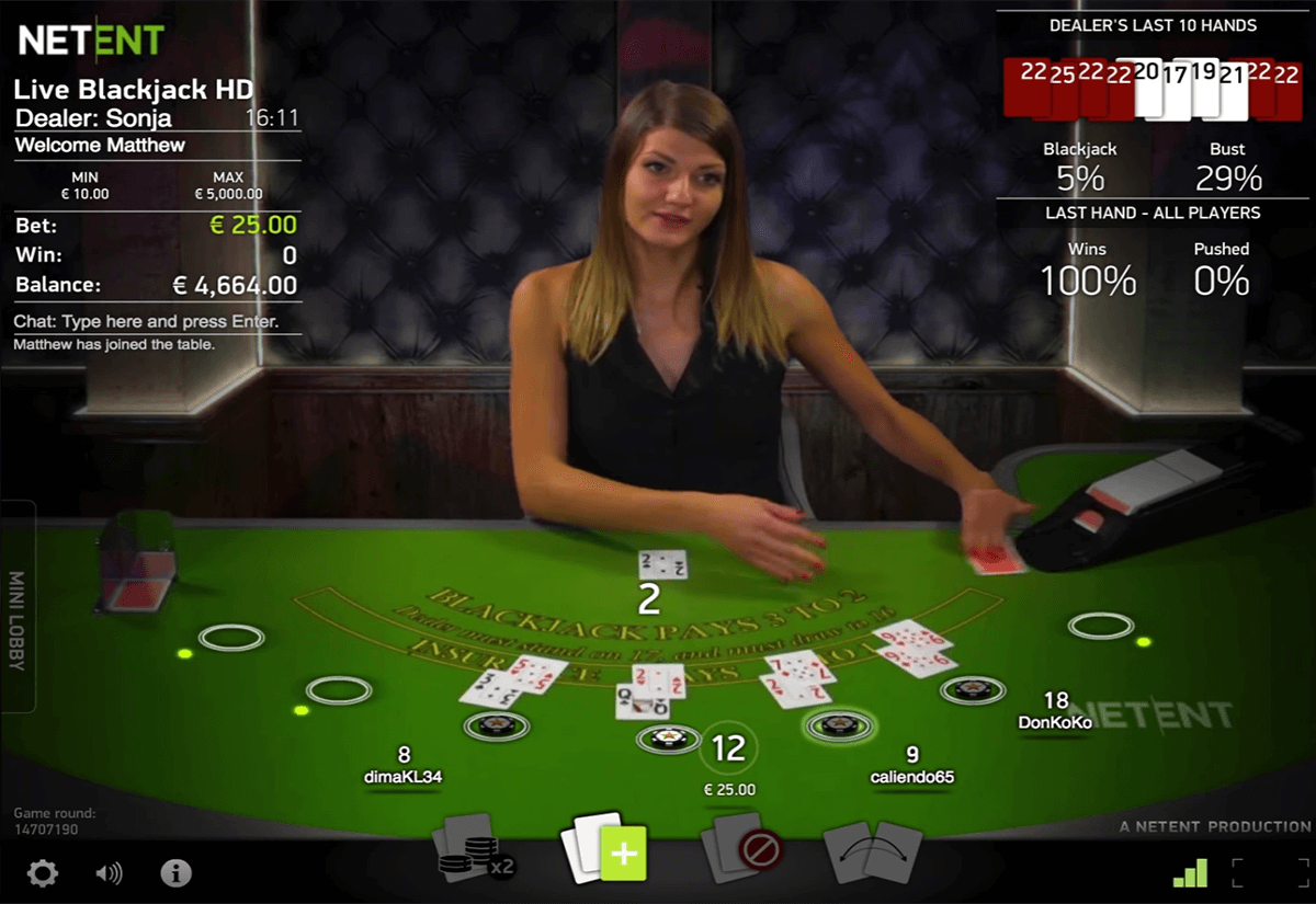 live blackjack netent online