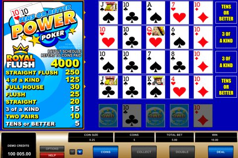 tens or better  play power poker microgaming poker aparate
